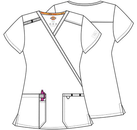 Wine Dickies Scrubs EDS Essentials Mock Wrap Top DK625 WNPS